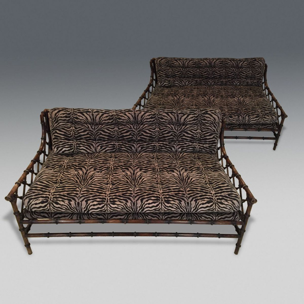 Pair of faux bamboo sofas stock decorative antiques for Stock sofas madrid
